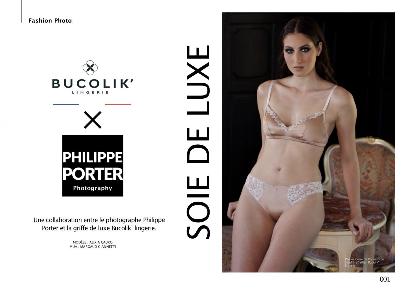 Collaboration entre le photographe Philippe Porter et la griffe de luxe Bucolik' lingerie. Modèle Alixia Cauro